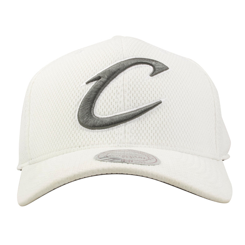 embroidered on the front of the cleveland cavaliers white hexagonal dad hat is the cavaliers logo embroidered in gray