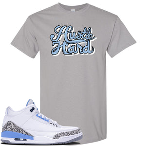 Air Jordan 3 UNC Sneaker Gravel T Shirt | Tees to match Nike Air Jordan 3 UNC Shoes | Half UNC Half Bulls