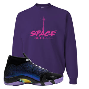 Jordan 14 Doernbecher Space Needle Purple Sneaker Hook Up Crewneck Sweatshirt