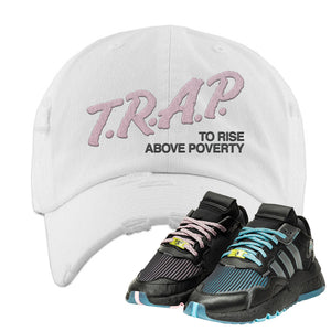 Ninja x adidas Nite Jogger Distressed Dad Hat | Trap To Rise Above Poverty, White