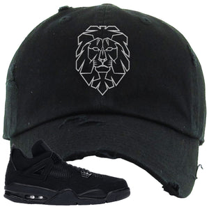 Air Jordan 4 Black Cat Cyber Lion Black Made to Match Distressed Dad Hat