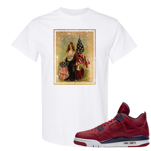 Jordan 4 FIBA Lady Liberty Shield White Sneaker Matching Tee Shirt