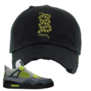Jordan 4 Neon Distressed Dad Hat | Black, Coiled Snake