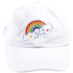 Rainbow Cloud Youth Sized Adjustable White Dad Hat