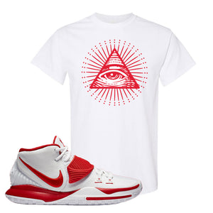 Kyrie 6 White University Red T Shirt | All Seeing Eye, White