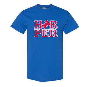 Harper Bell T-Shirt | Bryce Harper Bell Royal Blue T-Shirt the front of this shirt has the bryce bell logo