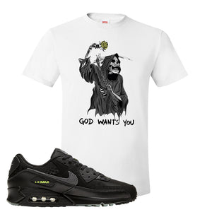 Air Max 90 Halloween T Shirt | God Wants You Reaper, White