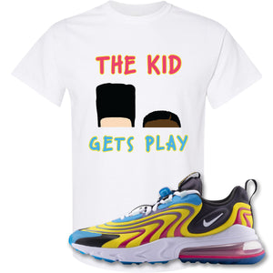 The Kid Gets Play White T-Shirt to match Air Max 270 React ENG Laser Blue Sneakers