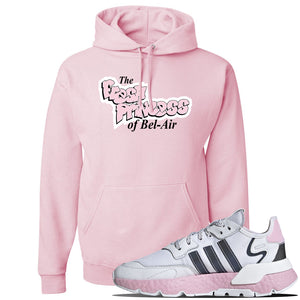 WMNS Nite Jogger Pink Boost Sneaker Classic Pink Pullover Hoodie | Hoodie to match Adidas WMNS Nite Jogger Pink Boost Shoes | Fresh Princess Of Bel Air