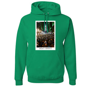 Superbowl Parade Score Board T-Shirt | Superbowl Score Board Kelly Green T-Shirt the front of this hoodie has the eagles scoreboard parade design
