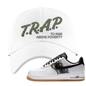 Air Force 1 Low Camo Dad Hat | Trap To Rise Above Poverty, White