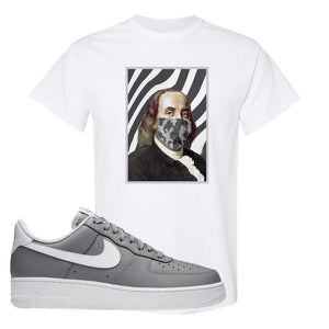 Air Force 1 Low Wolf Grey White T Shirt | White, Ben Franklin Mask
