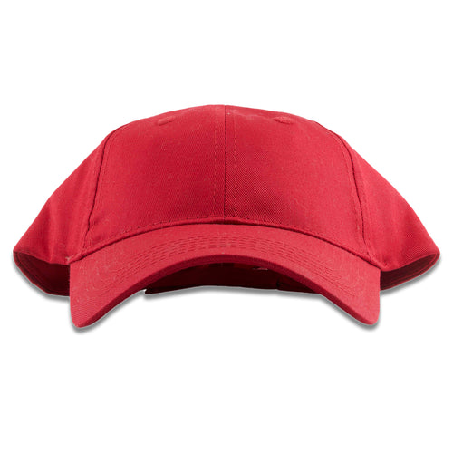 The red adjustable kid's dad hat has a structured red crown and a bent red brim
