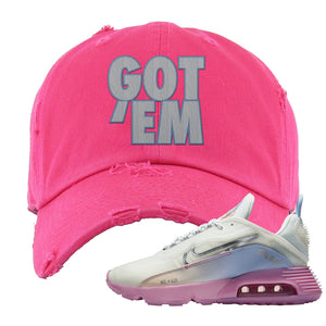 Air Max 2090 Airplane Travel Distressed Dad Hat | Got Em, Pink