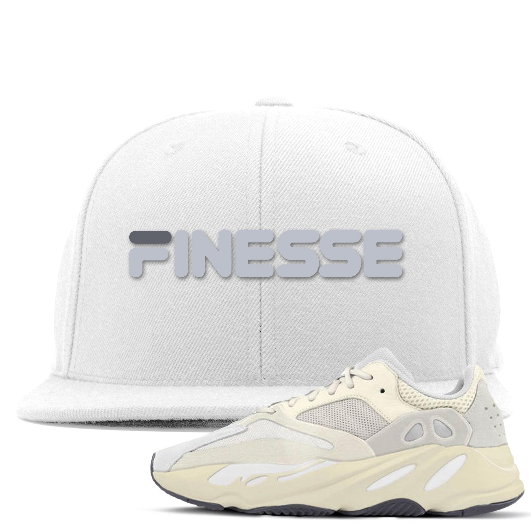 26061b5495c68 Yeezy Boost 700 Analog Sneaker Match Finesse White Snapback – Cap Swag
