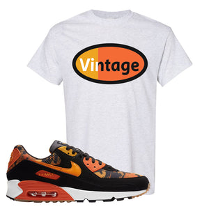 Air Max 90 Orange Camo T Shirt | Vintage Oval, Ash