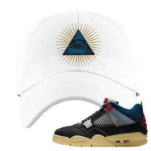 Union LA x Air Jordan 4 Off Noir Dad hat | All Seeing Eye, White