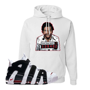 Air More Uptempo White Black Red Hoodie | White, Escobar Illustration