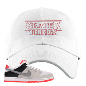 Nike SB Dunk Low Infrared Orange Label Skater Things White Dad Hat To Match Sneakers