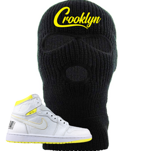 Jordan 1 First Class Flight Crooklyn Sneaker Matching Black Ski Mask