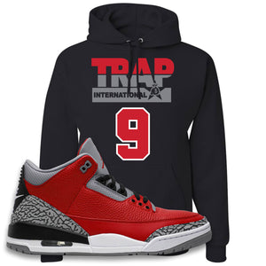 Jordan 3 Red Cement Hoodie | Black, Trap International