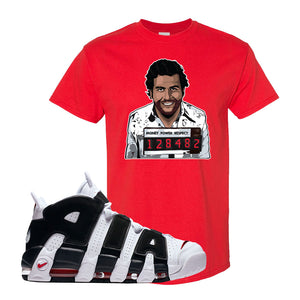 Air More Uptempo White Black Red T Shirt | Red, Escobar Illustration