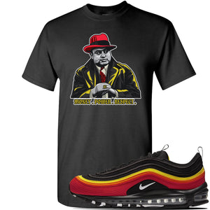 Air Max 97 Black/Chile Red/Magma Orange/White Sneaker Black T Shirt | Tees to match Nike Air Max 97 Black/Chile Red/Magma Orange/White Shoes | Capone Illustration