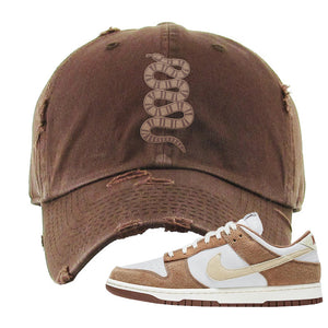Dunk Low Medium Curry Distressed Dad Hat | Coiled Snake, Brown