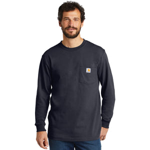 On the left chest of the longsleeve navy Carhartt t-shirt is a pocket with the Carhartt logo