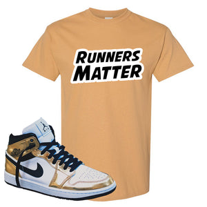 Air Jordan 1 Mid SE Metallic Gold T Shirt | Runners Matter, Old Gold