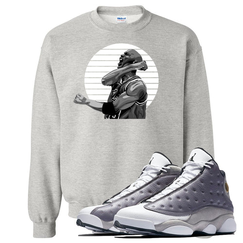 Jordan 13 Atmosphere Grey Jordan Scream Light Gray Crewneck