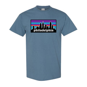 Philagonia T-Shirt | Philagonia Skyline Indigo Blue Tee Shirt the front of this t-shirt has the philagonia design