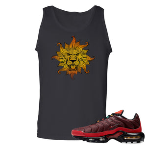 printed on the front of the air max plus sunburst sneaker matching black tank top is the vintage lion head logo