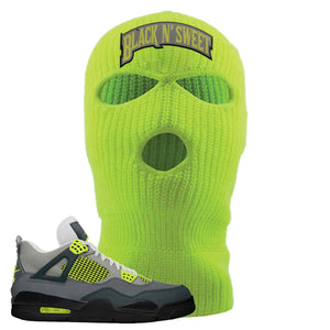 Jordan 4 Neon Sneaker Safety Yellow Distressed Dad Hat | Hat to match Nike Air Jordan 4 Neon Shoes | Black N Sweet Arch