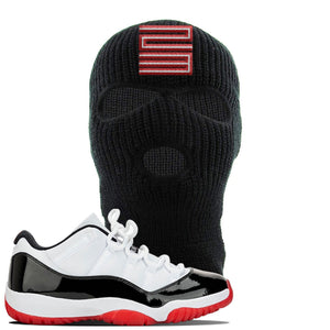 Jordan 11 Low White Black Red Sneaker Black Ski Mask | Winter Mask to match Nike Air Jordan 11 Low White Black Red Shoes | Jordan 11 23