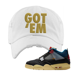 Union LA x Air Jordan 4 Off Noir Distressed Dad Hat | Got Em, White
