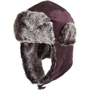 the corduroy exterior of this trapper hat is burgundy while the vegan fur interior is gray