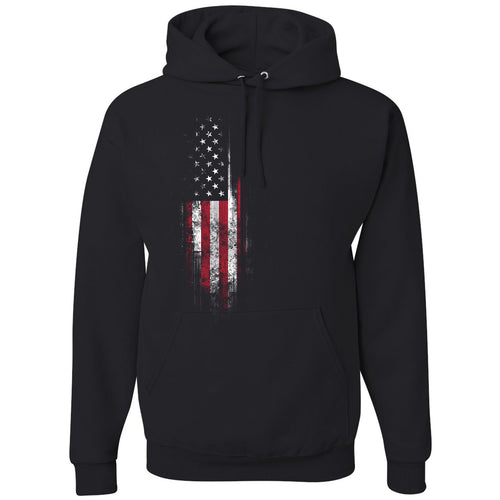 Standard Issue Distressed American Flag Banner Black Pullover Grunt Life Hoodie