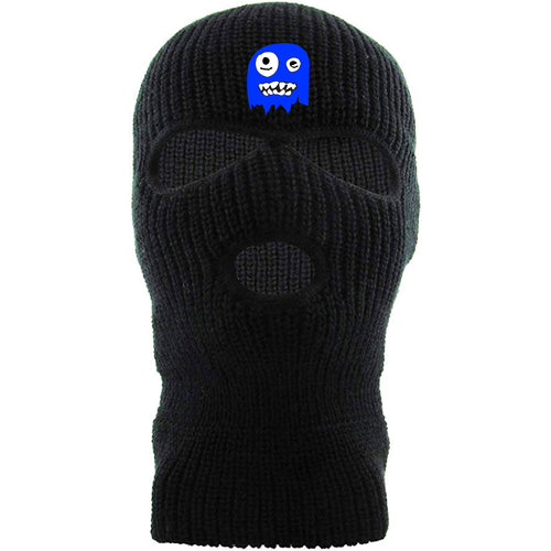 On the New Orleans Saints Alvin Kamara ski mask, the blue ghost logo is embroidered above the eye holes