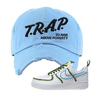 Air Force 1 '07 PRM 'Worldwide Pack' Distressed Dad Hat | Light Blue, Trap To Rise Above Poverty