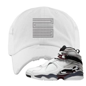 Air Jordan 8 Beetroot Distressed Dad Hat | Jordan 11 23, White