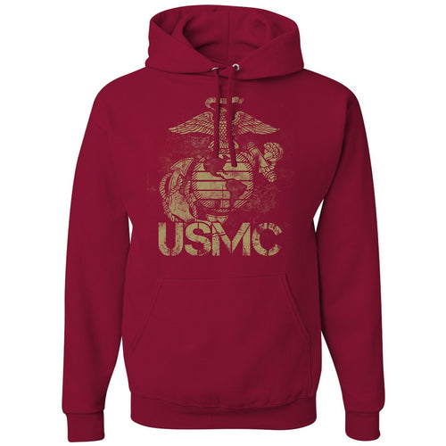 Standard Issue Distressed USMC Cardinal Red Pullover Grunt Life Hoodie