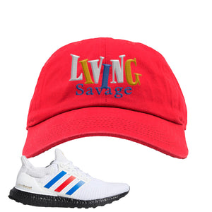 Ultra Boost White Red Blue Dad Hat | Red, Living Savage