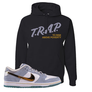 Sean Cliver x SB Dunk Low Hoodie | Trap To Rise Above Poverty, Black