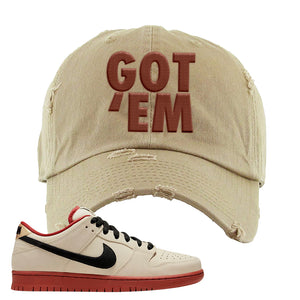 SB Dunk Low Muslin Distressed Dad Hat | Got Em, Khaki
