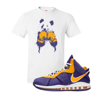 Lebron 8 Lakers T Shirt | Boxing Panda, White