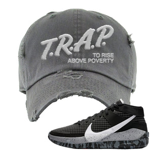 KD 13 Oreo Distressed Dad Hat | Trap To Rise Above Poverty, Dark Gray
