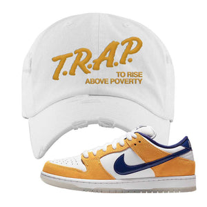 SB Dunk Low Laser Orange Distressed Dad Hat | White, Trap To Rise Above Poverty