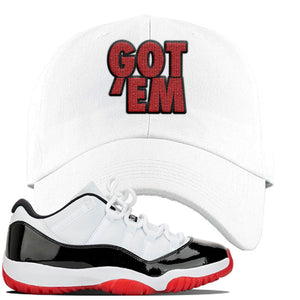 Jordan 11 Low White Black Red Sneaker White Dad Hat | Hat to match Nike Air Jordan 11 Low White Black Red Shoes | Got Em