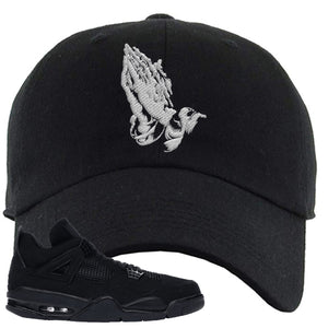 Air Jordan 4 Black Cat Praying Hands Black Made to MatchDad Hat